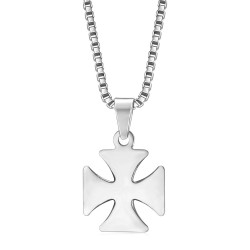 PE0128S BOBIJOO Jewelry Pendant Cross Pattee Templar Knight Steel + Chain