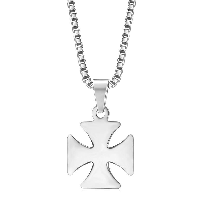 PE0128S BOBIJOO Jewelry Anhänger Kreuz Pattée Templer-Ritter Stahl + Kette
