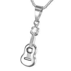 Pequeño, Discreto, Colgante de la Guitarra de Acero Inoxidable 316L