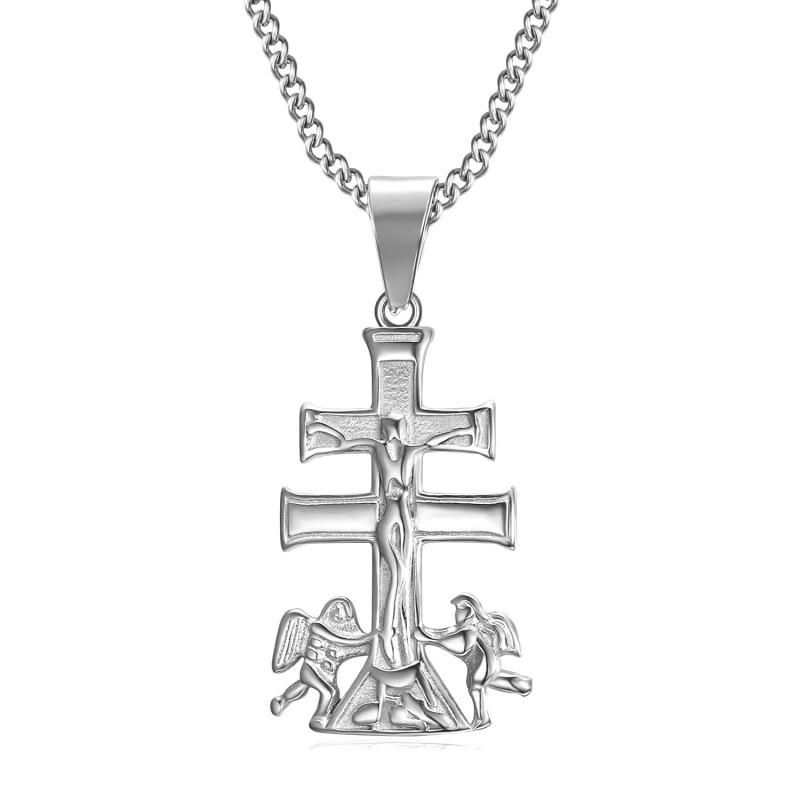 PE0193S BOBIJOO Jewelry Pendant Cross of Caravaca de la Cruz 32mm steel 316L