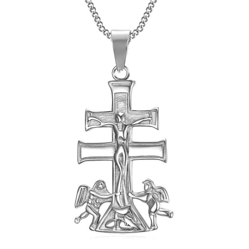 PE0194S BOBIJOO Gioielli Ciondolo Croce di Caravaca de la Cruz 44mm in acciaio 316L