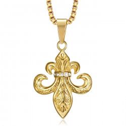 PE0262 BOBIJOO Jewelry Pendant Fleur de Lys Steel, Zirconium, Gold, Chain,