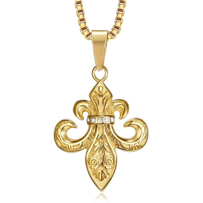 PE0262 BOBIJOO Jewelry Colgante Flor de Lis de Acero, de Circonio, de Oro, Cadena
