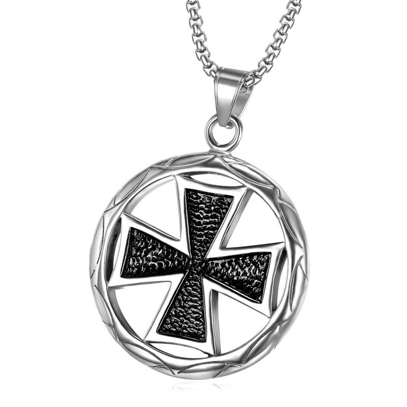 PE0038 BOBIJOO Jewelry Pendentif Médaillon Croix Pattée Teutonique Noire argenté