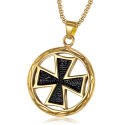 PE0039 BOBIJOO Gioielli Ciondolo Medaglione Croce Pattee Oro Nero