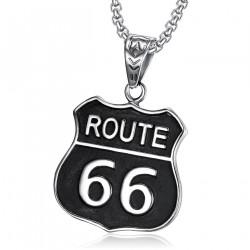 Pendant Emblem Biker Route 66 316L Steel Black