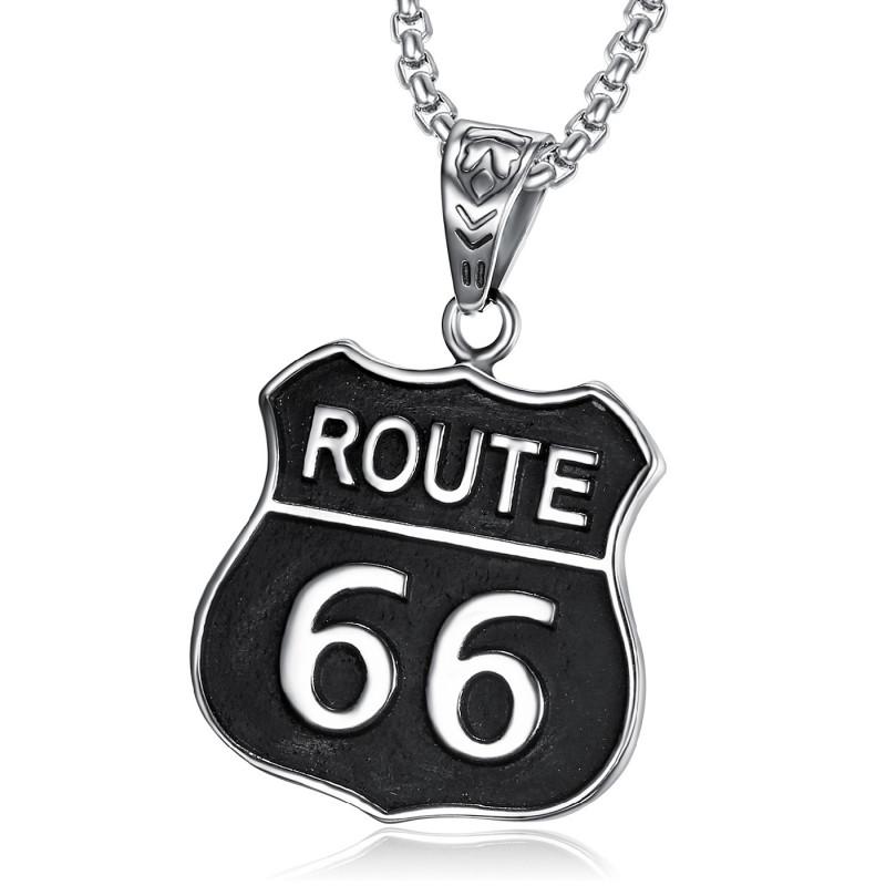 PE0272 BOBIJOO Jewelry Colgante Emblema del Motorista de la Ruta 66 316L de Acero Negro