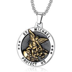 Pendentif Saint Michel Michael Protection Acier Or