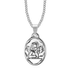 Pendentif Médaille Ange Gardien Baptême Acier Argent bobijoo