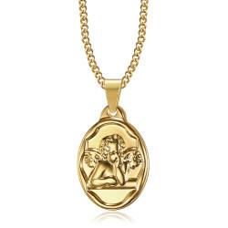 Colgante Medalla de Ángel de la guarda Bautismo de Acero de Oro