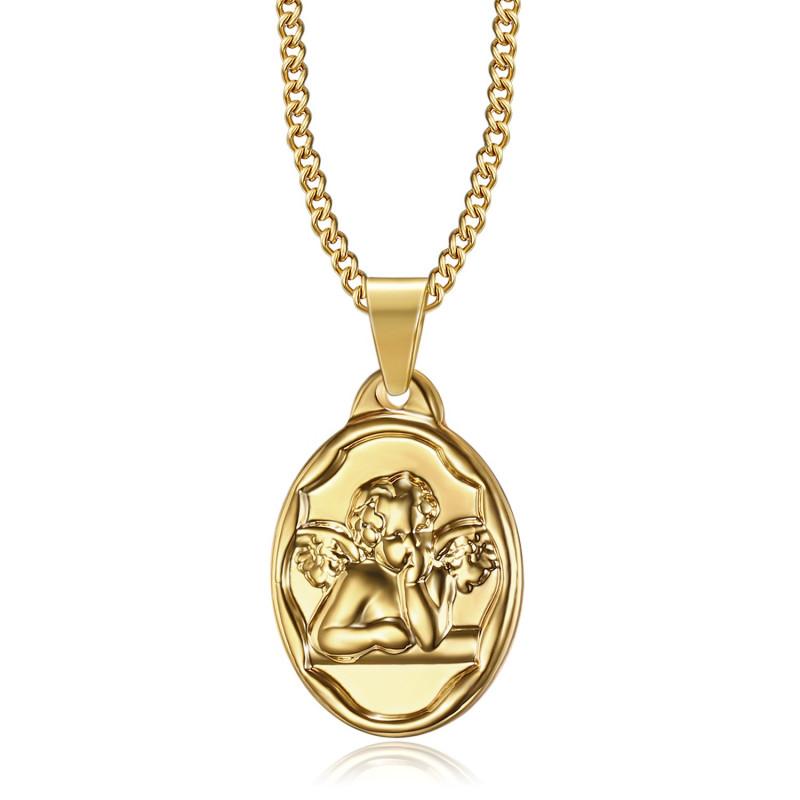 PE0269 BOBIJOO Jewelry Colgante Medalla de Ángel de la guarda Bautismo de Acero de Oro
