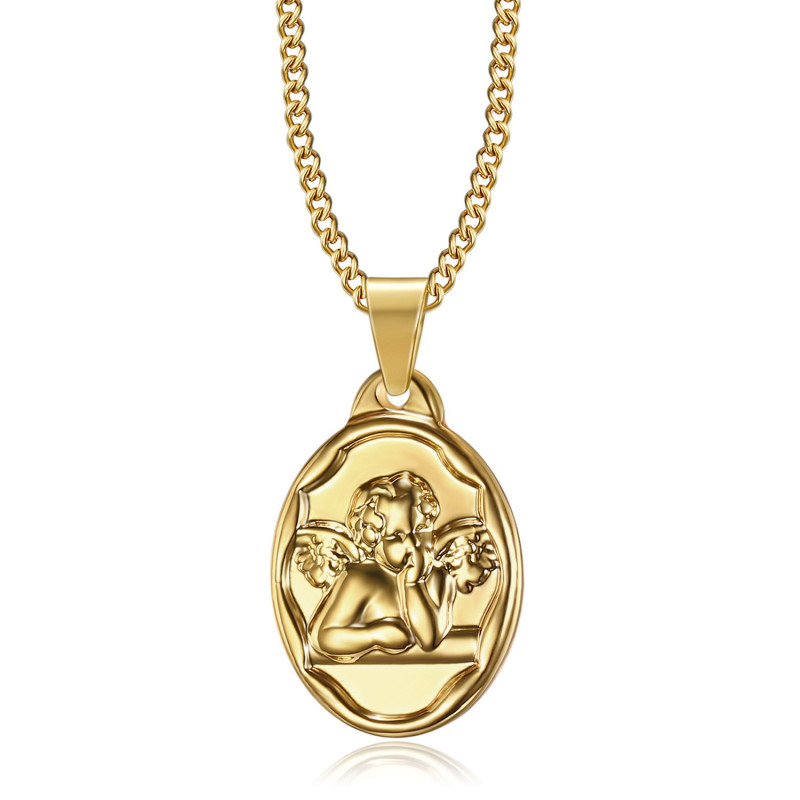 Pendentif Médaille Ange Gardien Baptême Acier Or bobijoo