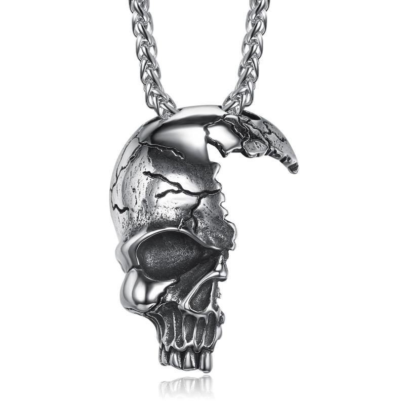 PE0268 BOBIJOO Gioielli Imponente Ciondolo da Biker, Cranio, Cranio Fracassato in Acciaio 316L