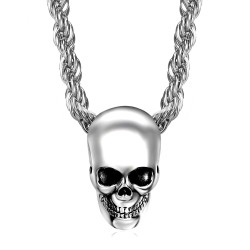 PE0267 BOBIJOO Jewelry Pendant necklace Biker Skull Skull Steel Chrome Silver Head Dead