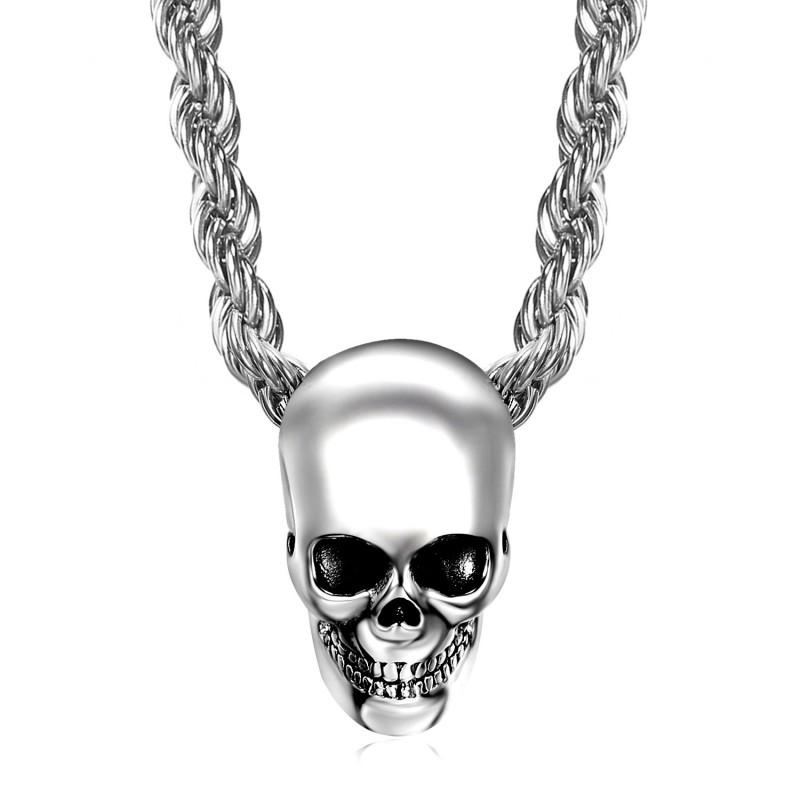 PE0267 BOBIJOO il Pendente dei Gioielli Biker Cranio Teschio in Acciaio Cromato d'Argento la Testa di Morte