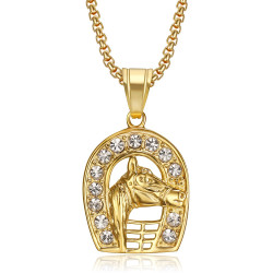 PE0263 BOBIJOO Jewelry Pendant horseshoe Carmargue Steel Gold Elvis Diamond