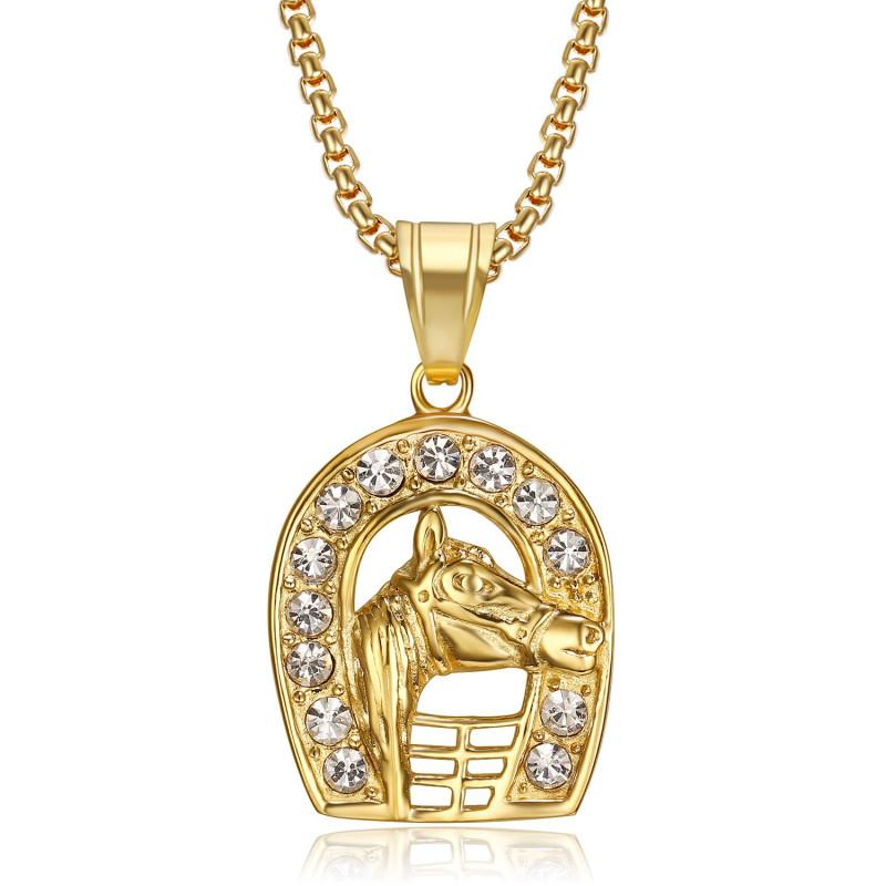 PE0263 BOBIJOO Gioielli Ciondolo ferro di cavallo Camargue Acciaio Oro di Elvis Diamanti