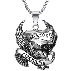 "PE0275 BOBIJOO Jewelry Cadena Colgante "" Live To Ride Águila de Acero Inoxidable 316L de la Cadena"