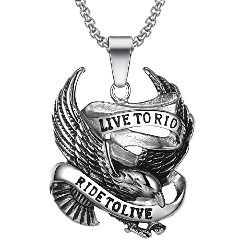 """PE0275 BOBIJOO Jewelry Chain Pendant """" Live To Ride Eagle 316L Stainless Steel Chain"""