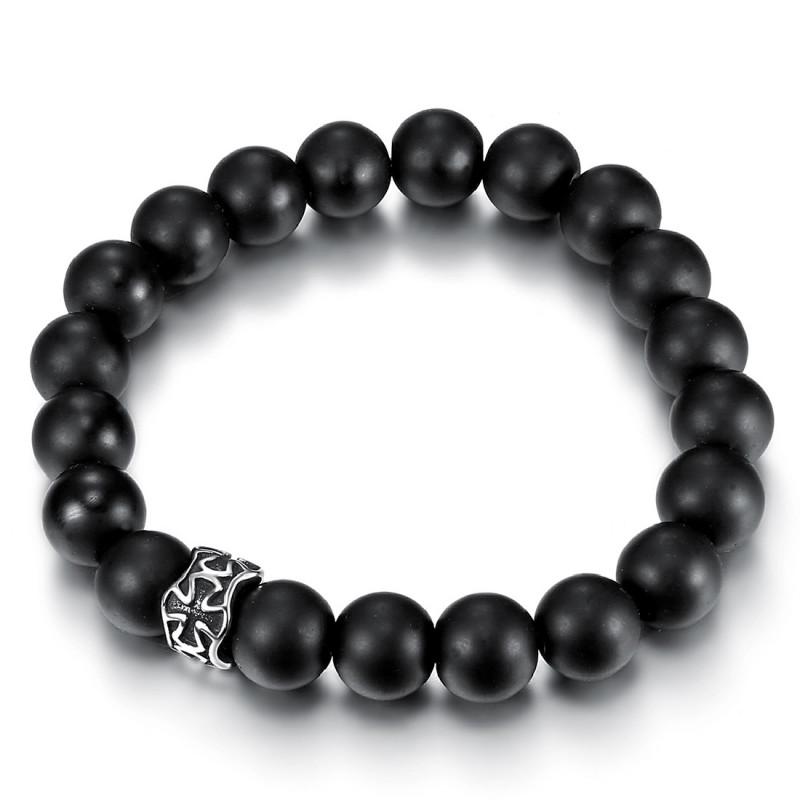 BR0047 BOBIJOO Jewelry Bracelet Stone Black Onyx Matte Cross Pattée stainless Steel