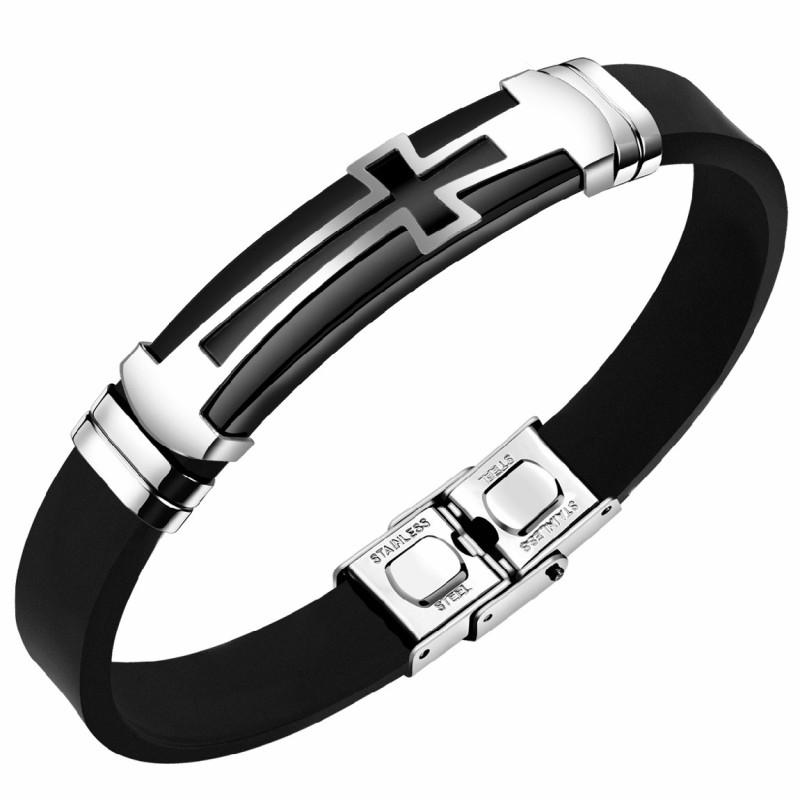 BR0055 BOBIJOO Jewelry Bracelet Croix Silicone Acier Inoxydable Réglable