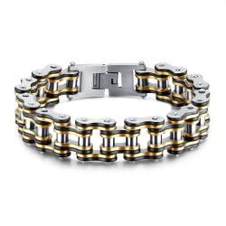 Large Bracelet Chaîne de Moto Homme Acier Or Argent Noir