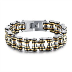 BR0240 BOBIJOO Jewelry Wide Chain Bracelet Motorcycle Man Steel Gold Silver Black
