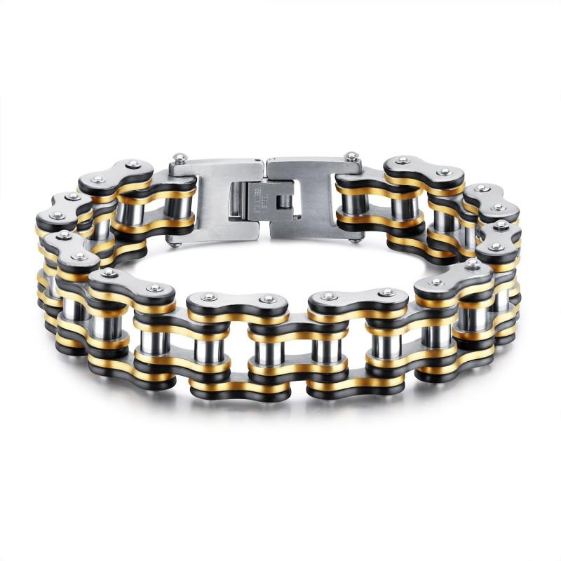 BR0240 BOBIJOO Jewelry Large Bracelet Chaîne de Moto Homme Acier Or Argent Noir