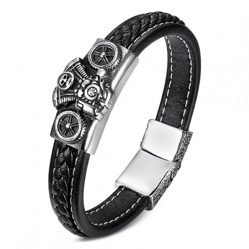 BR0276 BOBIJOO Jewelry Pulsera de Hombre de Cuero Negro, Motor V-Twin de Moteros de Acero 316L