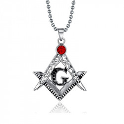 PE0004 BOBIJOO Jewelry Anhänger Halskette Freimaurer Stahl Fake-Rubin Rot