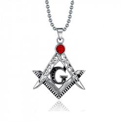 Chaine Pendentif Masonic Acier Cristal Rouge