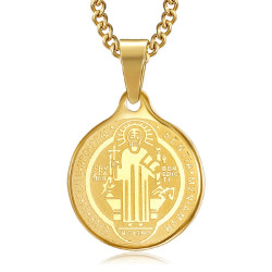 PE0276 BOBIJOO Jewelry Anhänger Medaille Halskette Heiligen Benedikt Stahl-Gold-Kette