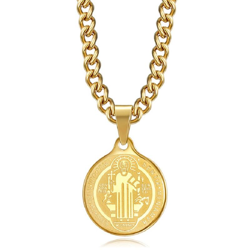 Pendentif Médaille Collier Saint Benoît Acier Or Chaîne bobijoo
