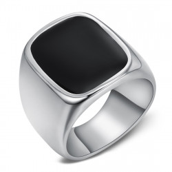BA0360 BOBIJOO Jewelry Großen Siegelring Mann Cabochon-Email Schwarz Stahl