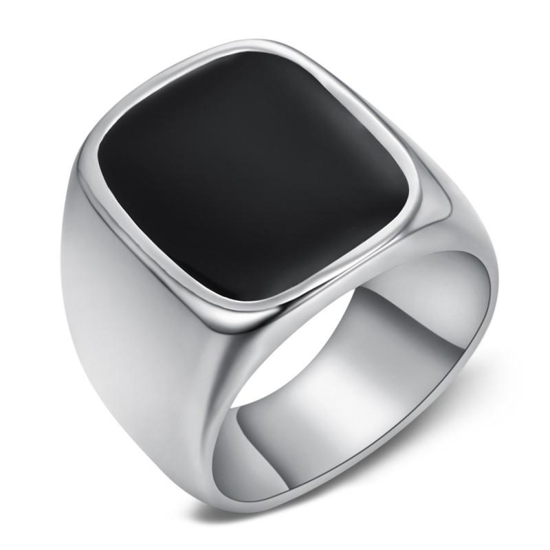 BA0360 BOBIJOO Jewelry Gran anillo de sellar el Hombre Cabujón de Correo electrónico de Acero Negro