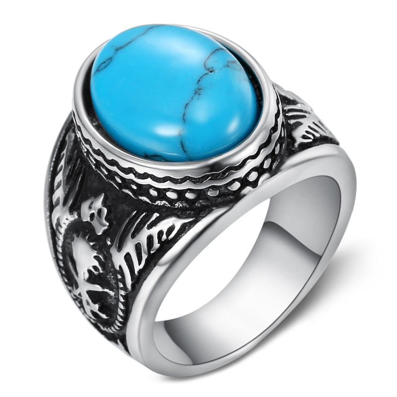 BA0361 BOBIJOO Jewelry Siegelring Ring Biker Türkis Oval 18m