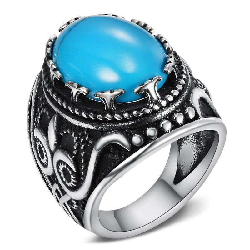 BA0362 BOBIJOO Jewelry Siegelring Ring Biker Türkis Eule 24mm