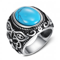 BA0364 BOBIJOO Jewelry Signet Ring Biker Turquoise Flower 21mm