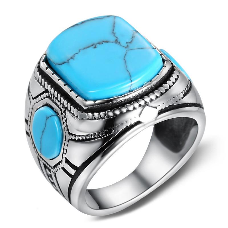 BA0365 BOBIJOO Jewelry Signet Ring Biker 3 Turquoise Maya 21mm