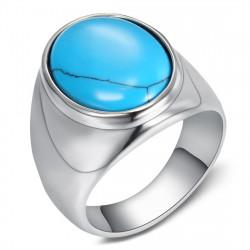 BA0366 BOBIJOO Jewelry Siegelring Ring Biker Türkis Schlicht 20mm