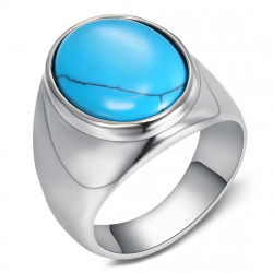 BA0366 BOBIJOO Jewelry Signet Ring Biker Turquoise Sober 20mm