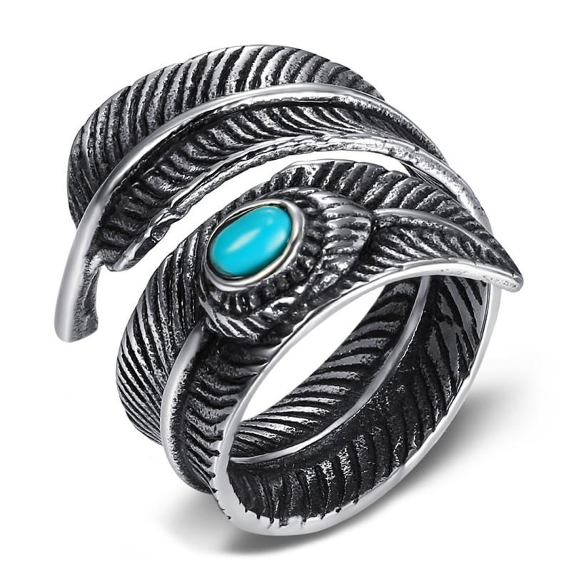 BA0367 BOBIJOO Jewelry Signet Ring Biker Indian Feather Turquoise US