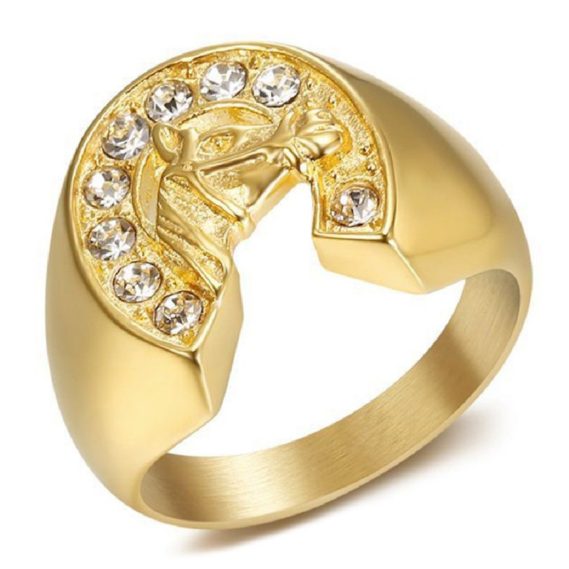 BA0369 BOBIJOO Jewelry Anillo de Sello Acero Oro Herradura Diamantes Elvis