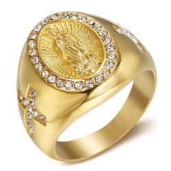 BA0370 BOBIJOO Jewelry Signet Ring Blank Cross Steel Gold-Diamonds