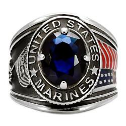 Chevalière Bague Militaire Marines USA Acier Argent Bleu