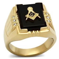 BA0372 BOBIJOO Jewelry Siegelring Ring Freimaurer-Cabochon Schwarzes Gold
