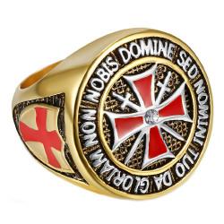 Anello Di Cavaliere Dell'Ordine Dei Templari Dorato Oro Fine Della Croce Rossa In Acciaio