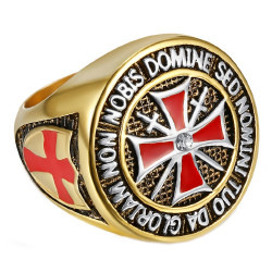 Bague Chevalière Ordre Templier Doré Or Fin Croix Rouge Acier bobijoo