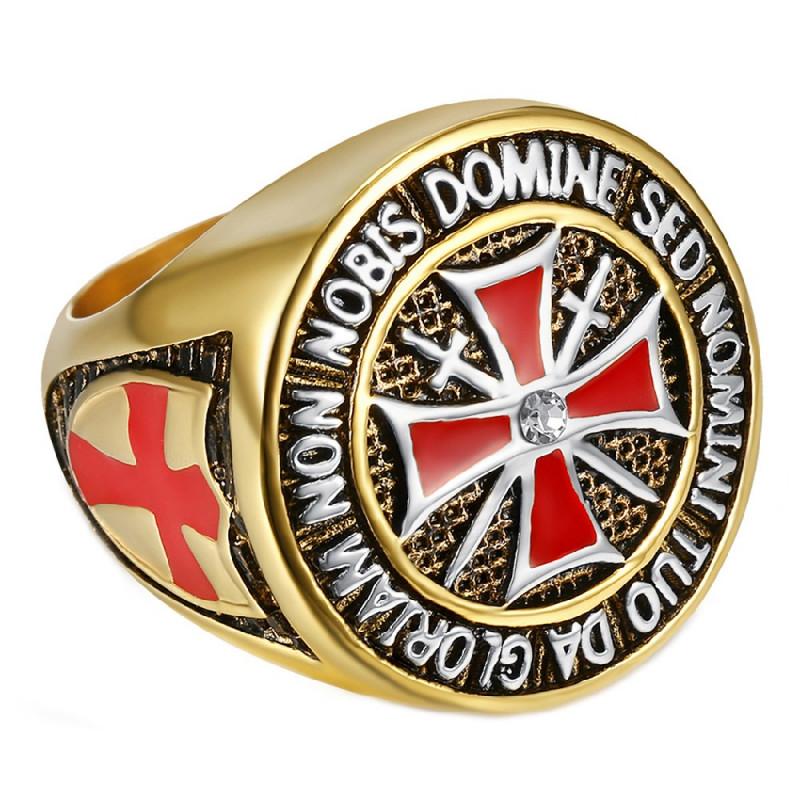BA0016 BOBIJOO Jewelry Bague Chevalière Ordre Templier Doré Or Fin Croix Rouge Acier