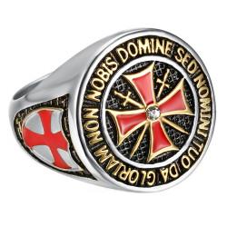 Bague Ordre Templier Argenté Croix de Malte Acier Inoxydable